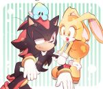 1boy 1girl :o animal_ears animal_nose bracelet cheese_(sonic) closed_mouth cream_the_rabbit dress furry gloves jewelry open_mouth orange_dress orange_footwear pulled_by_another rabbit_ears red_eyes shadow_the_hedgehog sonic_(series) sweatdrop tondamanuke white_gloves