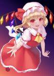 1girl :d absurdres ascot bangs blush bow commentary_request crystal dark_background eyebrows_visible_through_hair flandre_scarlet frilled_shirt_collar frills full_body gradient gradient_background hair_between_eyes hat hat_bow highres looking_at_viewer mob_cap one_side_up open_mouth petticoat puffy_short_sleeves puffy_sleeves purple_background red_bow red_eyes red_footwear red_skirt red_vest short_hair short_sleeves simple_background skirt smile solo touhou vest white_headwear wings yellow_neckwear yuha_(kanayuzu611)
