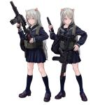 1girl animal_ears assault_rifle blue_legwear blue_sailor_collar blue_shirt blue_skirt brown_footwear cat_ears closed_mouth fkey grey_hair gun hand_up handgun holding holding_gun holding_weapon loafers long_hair long_sleeves looking_at_viewer miniskirt multiple_views neckerchief original pink_eyes pistol red_neckwear rifle sailor_collar shirt shoes simple_background skirt socks tactical_clothes weapon weapon_request white_background