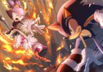 1boy 1girl arm_support battle blaze_the_cat blurry clenched_teeth dress fire furry gloves one_eye_closed open_mouth purple_dress shoes sneakers sonic_(series) sonic_rush sonic_the_hedgehog tail teeth tondamanuke white_gloves yellow_eyes