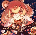 1girl 3_(sanyako1) :p animal_ears arknights bangs bear_ears bear_girl black_background blonde_hair brown_eyes candy candy_hair_ornament candy_wrapper commentary_request food food-themed_hair_ornament gummy_(arknights) hair_ornament happy_birthday highres looking_at_viewer nail_polish orange_nails sailor_collar shirt short_hair smile solo tongue tongue_out twintails upper_body white_sailor_collar