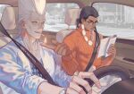 2boys :d black_hair blue_eyes broken_heart brown_eyes chinese_commentary cigarette commentary dark-skinned_male dark_skin driving earrings english_commentary fire glasses heart heart_earrings jean_pierre_polnareff jewelry jojo_no_kimyou_na_bouken low_ponytail male_focus mixed-language_commentary mohammed_avdol multiple_boys open_mouth parted_lips reading seatbelt sitting smile stardust_crusaders sweater tantan_(jieve629) turtleneck turtleneck_sweater watch white_hair