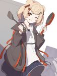1girl ;p animal_ears arknights bear_ears bear_girl black_jacket black_skirt blonde_hair candy_hair_ornament collarbone eyebrows_visible_through_hair food-themed_hair_ornament frying_pan gummy_(arknights) hair_ornament hairclip highres holding holding_frying_pan holding_spatula jacket long_sleeves one_eye_closed open_clothes open_jacket orange_eyes short_hair shoujo_l skirt smile solo spatula tongue tongue_out