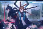 2girls amiya_(arknights) animal_ears arknights ascot black_gloves black_legwear blue_collar blue_eyes blue_jacket blue_neckwear blue_shorts blue_skirt brown_hair building ch'en_(arknights) city collar company_name copyright_name cowboy_shot dragon_horns dual_wielding earpiece fingerless_gloves gloves hair_between_eyes highres hihara_you holding holding_sword holding_weapon horns jacket multiple_girls official_art open_clothes open_jacket open_mouth outdoors pantyhose profile rabbit_ears shirt shorts skirt skyscraper standing sword twintails v-shaped_eyebrows watermark weapon white_shirt