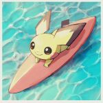 bishamon_(usagi_ba) border brown_eyes closed_mouth commentary_request from_above full_body highres no_humans pichu pokemon pokemon_(creature) smile solo surfboard surfing white_border