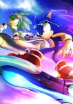 2boys animal_nose beak boots clouds eyewear_on_head feathers furry furry_male gloves grin hover_board jet_the_hawk male_focus multiple_boys racing red_footwear sky smile sonic_(series) sonic_riders sonic_the_hedgehog tondamanuke white_gloves