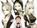 >_< 2girls alternate_costume animal_ears arknights black_jacket black_ribbon blush bow bowtie cat_ears coat collared_shirt dress_shirt ears_through_headwear enmaided formal fur-trimmed_coat fur_trim green_eyes green_hair hair_ribbon hand_on_own_chest hands_on_own_chest hat heidi_(arknights) highres hood hood_up jacket jewelry kal'tsit_(arknights) looking_at_viewer maid maid_headdress multiple_girls multiple_views necklace official_alternate_costume open_clothes open_jacket open_mouth oripathy_lesion_(arknights) red_headwear ribbon shirt short_hair smile sutoa translation_request upper_body white_coat white_headdress white_neckwear white_shirt