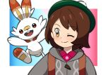 1girl bangs blush brown_eyes brown_hair buttons cable_knit cardigan closed_mouth collared_dress commentary_request dress eyebrows_visible_through_hair eyelashes gloria_(pokemon) green_headwear grey_cardigan hat one_eye_closed pink_dress pokemon pokemon_(creature) pokemon_(game) pokemon_swsh scorbunny smile split_mouth strap tam_o'_shanter upper_body yume_yoroi