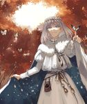1boy autumn autumn_leaves blue_eyes cape colored_eyelashes diamond_hairband eyebrows_visible_through_hair fate/grand_order fate_(series) grey_hair highres insect_on_finger long_sleeves medium_hair oberon_(fate) outdoors pineapple6huza puffy_long_sleeves puffy_sleeves smile solo tree