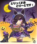 1girl 202 animal_ears basket bat bat_wings boots bow brown_hair candy cat chibi commentary_request crescent_moon dated fangs flower food gloves gothic_lolita hair_flower hair_ornament hair_over_one_eye hairband hat highres hisahiko horse_ears horse_girl horse_tail jack-o'-lantern lolita_fashion long_hair looking_at_viewer moon open_mouth outstretched_arms pumpkin red_eyes rice_shower_(umamusume) shadow signature silhouette silk skirt smile solo spider_web star_(symbol) tail translation_request tree umamusume violet_eyes wings witch witch_hat
