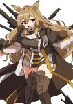 1girl absurdres animal_ears arknights boots brown_cape brown_coat brown_footwear brown_hair cape ceobe_(arknights) coat commentary dog_ears fang feet_out_of_frame hair_between_eyes highres long_hair looking_at_viewer open_mouth red_eyes simple_background skin_fang solo thigh-highs thigh_boots thighs vegetable_osamuta weapon weapon_on_back white_background zettai_ryouiki