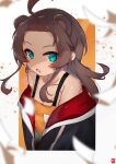 1girl absurdres ahoge animal_ears bangs bear_ears blue_eyes blue_jacket brown_hair extra_ears fang forehead highres hololive jacket long_hair looking_at_viewer natsuiro_matsuri off-shoulder_shirt off_shoulder open_mouth orange_shirt parted_bangs shade shirt sidelocks solo two-sided_fabric two-sided_jacket virtual_youtuber zonzu