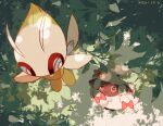 :3 blue_eyes bow bright_pupils celebi closed_mouth commentary_request dated flying leaf leels looking_up mythical_pokemon no_humans pink_bow pokemon pokemon_(creature) smile white_pupils wooloo
