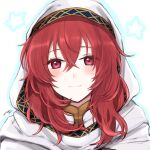 1girl bangs blush closed_mouth eyebrows_visible_through_hair fire_emblem fire_emblem:_mystery_of_the_emblem hair_between_eyes highres lena_(fire_emblem) long_hair looking_at_viewer misato_hao outline portrait red_eyes redhead shiny shiny_hair signature smile solo