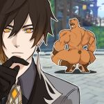 1boy artist_name ass bear black_gloves black_hair blurry blurry_background broly_culo_(meme) brown_hair commentary diamond-shaped_pupils diamond_(shape) earrings english_commentary eyeshadow finger_to_own_chin genshin_impact gloves gradient_hair guoba_(genshin_impact) highres jewelry looking_at_viewer makeup meme multicolored_hair muscular opossumisst parody pose red_eyeshadow short_hair_with_long_locks squatting standing stone_floor symbol-shaped_pupils tassel tassel_earrings yellow_eyes zhongli_(genshin_impact)
