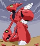 armor broken_armor clouds dark_clouds grey_sky insect_wings no_humans one_knee outdoors pincers pokemon pokemon_(creature) redol scizor scyther sky solo wings