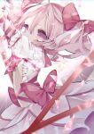 1girl absurdres arms_up bubble_skirt chromatic_aberration dress eyelashes frilled_dress frilled_sleeves frills hair_between_eyes hair_ornament hair_ribbon highres kaname_madoka light_particles little_(co) magical_girl mahou_shoujo_madoka_magica pink_eyes pink_hair pink_ribbon puffy_short_sleeves puffy_sleeves ribbon short_hair short_sleeves short_twintails skirt solo twintails