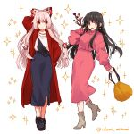 2girls absurdres alternate_costume arm_up artist_name bag bangs black_hair blue_skirt boots bow breasts brown_eyes closed_mouth collar collared_jacket dress earrings fujiwara_no_mokou grey_footwear hair_bow hand_up highres houraisan_kaguya izumi_minami jacket jewelry long_hair long_sleeves looking_at_another looking_at_viewer medium_breasts multicolored multicolored_bow multiple_girls necklace open_mouth pink_dress pink_hair puffy_long_sleeves puffy_sleeves red_bow red_eyes red_jacket shirt skirt smile standing star_(symbol) starry_background t-shirt touhou treasure white_background white_bow white_shirt yellow_bag