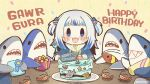 1girl :3 :d bangs birthday_cake blue_eyes blue_hair blunt_bangs blush_stickers cake character_name chibi commentary confetti dated_commentary eyebrows_visible_through_hair food fork gawr_gura gift happy_birthday hololive hololive_english long_hair looking_at_viewer mixed-language_commentary multicolored_hair open_mouth plate same_anko shark sharp_teeth shrimp smile solo streaked_hair table teeth twitter_username two-tone_hair two_side_up v-shaped_eyebrows white_hair