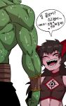 2boys absurdres bangs bare_shoulders black_hair blush chest_tattoo cleavage_cutout closed_eyes clothing_cutout colored_skin commentary_request demon_horns demon_king_(in) eyebrows_visible_through_hair facial_tattoo green_skin highres horns in_(ain) korean_commentary korean_text long_hair male_focus multiple_boys open_mouth orc original otoko_no_ko pointy_ears sharp_teeth simple_background sleeveless smile speech_bubble sweat sweating_profusely tattoo teeth translation_request white_background