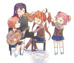 4girls ahoge arms_up bangs blue_footwear blue_skirt bow brown_hair brown_jacket brown_legwear chibi closed_eyes closed_mouth commentary doki_doki_literature_club eyebrows_visible_through_hair flute full_body guitar hair_bow holding holding_instrument instrument jacket jitome light_brown_hair long_hair long_sleeves looking_at_another monika_(doki_doki_literature_club) multiple_girls music natsuki_(doki_doki_literature_club) necktie open_mouth parted_bangs piano piano_bench pink_hair playing_instrument playing_piano pleated_skirt ponytail purple_hair red_bow red_footwear red_neckwear sayori_(doki_doki_literature_club) sheet_music shirt short_twintails sidelocks simple_background sitting skirt smile socks tareme thigh-highs tsubobot twintails violin white_background white_bow white_legwear white_shirt yuri_(doki_doki_literature_club)