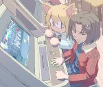 2girls :3 =3 absurdres anger_vein angry animal_ear_fluff animal_ears arcade arcade_cabinet bangs big_eyes black_eyes black_hair blonde_hair blue_kimono bob_cut brown_eyes cat_ears chair clenched_teeth collarbone commentary commission english_commentary eyebrows_visible_through_hair fighting_game fur_trim hair_between_eyes highres indoors jacket japanese_clothes kara_no_kyoukai kimono long_sleeves looking_at_another looking_to_the_side medium_hair melty_blood multiple_girls nekoarc open_mouth pantsu-ripper parted_bangs purple_skirt red_jacket ryougi_shiki sitting skirt smile sweatdrop sweater table teeth tsukihime turtleneck white_sweater