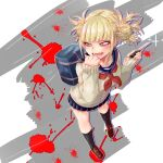 1girl absurdres annmitsu114 backpack bag bags_under_eyes bangs black_legwear blonde_hair blood blood_splatter blue_sailor_collar blue_skirt blunt_bangs boku_no_hero_academia brown_footwear cardigan clenched_hand double_bun fangs from_above full_body grey_background hair_up hands_up highres holding holding_knife holding_weapon kneehighs knife loafers looking_away messy_hair narrowed_eyes neckerchief pleated_skirt red_neckwear sailor_collar school_uniform serafuku shiny shiny_hair shoes sidelocks skirt smile socks solo standing teeth toga_himiko weapon white_background yellow_cardigan yellow_eyes