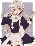 1girl alternate_costume apron bangs black_dress black_legwear blush bow breasts bridal_gauntlets collar corrin_(fire_emblem) corrin_(fire_emblem)_(female) cosplay do_m_kaeru dress eyebrows_visible_through_hair feather_trim felicia_(fire_emblem) felicia_(fire_emblem)_(cosplay) fire_emblem fire_emblem_fates frilled_collar frills grey_hair hair_between_eyes juliet_sleeves large_breasts long_hair long_sleeves looking_at_viewer maid maid_headdress manakete open_mouth pointy_ears puffy_sleeves red_eyes smile solo thigh-highs tongue twitter_username waist_apron white_apron white_bow wrist_cuffs