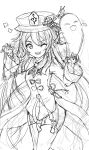 1girl absurdres bangs chinese_clothes claw_pose clenched_teeth collared_shirt drawing eyebrows_visible_through_hair flower_hat genshin_impact ghost hair_between_eyes hair_down hands_up hat_ornament highres hu_tao_(genshin_impact) jewelry long_hair long_sleeves messy_hair monochrome one_eye_closed open_mouth shirt simple_background sketch solo symbol_in_eye teeth thighs white_background wide_sleeves yenm