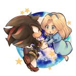 1boy 1girl :d animal_nose blonde_hair blue_dress blue_eyes blue_footwear blue_hairband blush chibi closed_mouth dress eye_contact floating full_body furry furry_male gloves hairband happy holding_hands long_hair long_sleeves looking_at_another maria_robotnik open_mouth planet puffy_sleeves red_eyes shadow_the_hedgehog smile sonic_(series) star_(symbol) tondamanuke white_gloves