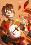 1boy :d absurdres bangs blurry brown_eyes brown_hair chili_pepper chinese_clothes commentary cooking depth_of_field english_commentary eyebrows_visible_through_hair genshin_impact glasses grin guoba_(genshin_impact) hair_between_eyes highres holding holding_spatula humanization kijureii looking_up motion_blur motion_lines multicolored_hair open_mouth red_panda_ears short_sleeves sidelocks smile solo spatula streaked_hair thick_eyebrows twitter_username vision_(genshin_impact) wok