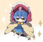 1girl bangs barefoot blue_dress blue_hair bow brown_background brown_cape cape chibi commentary_request dress eyebrows_visible_through_hair fang full_body hair_between_eyes halftone halftone_background highres milkpanda monster_hunter_(series) nibelsnarf parted_lips personification polka_dot polka_dot_dress short_eyebrows solo sparkle tail thick_eyebrows two-tone_background white_background yellow_bow yellow_eyes