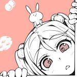1girl :< animal_on_head face hair_bobbles hair_ornament kantai_collection monochrome on_head pink_eyes pink_theme rabbit sazanami_(kancolle) solo spot_color takasugi_heppu twintails