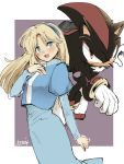1boy 1girl :d animal_nose artist_name blonde_hair blue_dress blue_eyes blue_hairband blush bracelet dress furry furry_male gloves hairband jewelry ligne_claire long_dress long_hair long_sleeves looking_at_viewer maria_robotnik open_mouth puffy_sleeves red_eyes serious shadow_the_hedgehog smile sonic_(series) standing tondamanuke white_gloves
