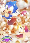 3boys :o black_eyes clenched_teeth falling food fox_boy furry furry_male gloves knuckles_the_echidna male_focus multiple_boys multiple_tails open_mouth popcorn red_footwear sonic_(series) sonic_the_hedgehog sonic_the_hedgehog_(classic) tail tails_(sonic) teeth tondamanuke two_tails white_gloves