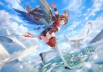 1girl amber_(genshin_impact) bangs bird black_gloves black_shorts blue_sky brown_hair building city clouds commentary_request crossed_bangs feathers flying genshin_impact gloves green_eyes hair_between_eyes hands_up highres hill leaf long_hair looking_at_viewer looking_back maica_sunahara messy_hair multicolored multicolored_clothes multicolored_legwear open_clothes open_mouth open_shirt outstretched_arms red_ribbon ribbon scenery short_sleeves shorts sidelocks sky smile solo thigh-highs thighs tree water wings wrist_cuffs