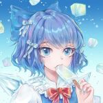 1girl bangs blue_dress blue_eyes blue_hair cirno commentary_request dress eyebrows_visible_through_hair face food frills ice ice_cream ice_cube ice_wings looking_at_viewer mioda_iki red_ribbon ribbon short_hair simple_background solo star_(symbol) star_in_eye symbol_in_eye touhou white_sleeves wings
