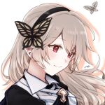 1girl bangs black_hairband butterfly_hair_ornament closed_mouth corrin_(fire_emblem) corrin_(fire_emblem)_(female) eyebrows_visible_through_hair fire_emblem fire_emblem_fates floating_hair hair_between_eyes hair_ornament hairband highres long_hair misato_hao pointy_ears portrait red_eyes shadow shiny shiny_hair signature silver_hair smile solo swept_bangs