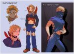 2boys alternate_costume alternate_hairstyle bangs best_jeanist blonde_hair blue_background blue_pants boku_no_hero_academia border clothing_request covered_mouth crop_top cropped_shoulders denim earrings english_text facial_hair flame_print hair_over_one_eye hawks_(boku_no_hero_academia) heart highres jeans jewelry keva_(liltkeva) long_hair long_sleeves male_focus midriff mini_wings multiple_boys navel pants red_footwear red_wings shoes short_hair sidelocks smile stubble sweater tongue tongue_out white_border wings