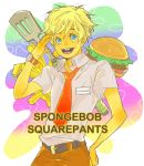 blonde_hair blue_eyes buck_teeth food freckles french_fries hamburger male name_tag necktie nickelodeon personification spatula spongebob_squarepants spongebob_squarepants_(character) watch wristwatch