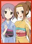 border brown_eyes brown_hair crossover face grey_hair ikari_manatsu japanese_clothes k-on! kimono multiple_girls nagato_yuki ponytail red_border short_hair suzumiya_haruhi_no_yuuutsu tainaka_ritsu v
