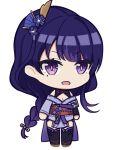 1girl :o azur_lane bangs chibi hair_ornament japanese_clothes kimono looking_at_viewer open_mouth parody purple_hair raiden_shogun simple_background solo style_parody svol transparent_background violet_eyes
