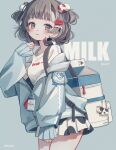 1girl :3 absurdres animal_print backpack bag bare_legs blue_background blue_eyes blue_hoodie blush brown_hair clenched_hand commentary_request cow cow_print cowboy_shot earrings english_text hair_bobbles hair_ornament hairclip hand_up highres hood hoodie jewelry keychain looking_at_viewer milk_carton original shiraho_(color-56) shirt short_hair simple_background sleeves_past_wrists solo two_side_up white_bag white_shirt zipper zipper_pull_tab