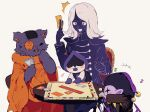 +++ 1boy blue_shirt blue_skin blush board_game buttons cat chair colored_skin deltarune dice double-breasted eighth_note fang hat highres jester_cap jevil lancer_(deltarune) long_sleeves monopoly musical_note on_lap orange_tunic patch playing_games purple_fur purple_skin rouxls_kaard scar seam_(deltarune) shirt simple_background smile surprised sweat table tail tunic white_background white_hair y_o_u_k_a