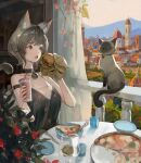 1girl absurdres animal_ear_fluff animal_ears balcony bare_arms bare_shoulders bell black_choker black_dress black_hair blue_eyes blush burger cat cat_ears cat_girl cat_tail choker city collarbone cup day disposable_cup dress drinking_glass fang food highres holding holding_cup holding_food jingle_bell jung_wonjo knife looking_to_the_side neck_bell open_mouth original outdoors paw_print pizza plate print_dress short_hair siamese_cat sleeveless sleeveless_dress solo tail upper_body wrapper