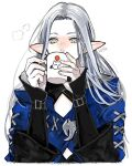 1girl blue_coat coat covered_mouth cup drinking elezen elf final_fantasy final_fantasy_xiv grey_eyes holding holding_cup long_hair long_sleeves looking_down moogle mug pointy_ears signature silver_hair simple_background solo upper_body white_background ysayle_dangoulain yum0811