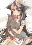 1girl :t animal_ears bangs black_hair brown_eyes closed_mouth commentary_request crown dress ears_down eyebrows_visible_through_hair grey_legwear highres long_hair looking_at_viewer mini_crown mitoko_(kuma) original pink_dress pout see-through solo tail tail_hug tears thigh-highs very_long_hair wolf_ears wolf_girl wolf_tail