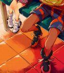 2boys absurdres allister_(pokemon) bench black_footwear commentary_request dark-skinned_male dark_skin height_difference highres knees kudou_(gst910) legs lower_body male_focus multiple_boys pokemon pokemon_(game) pokemon_swsh raihan_(pokemon) shoes shorts side_slit side_slit_shorts sitting tile_floor tiles twitter_username white_footwear