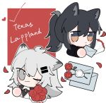 2girls animal_ears antenna_hair arknights black_hair black_jacket blush bouquet character_name commentary_request cropped_torso ear_piercing envelope flower grey_eyes grey_hair hair_between_eyes hair_ornament hairclip highres holding holding_bouquet holding_envelope jacket lappland_(arknights) lappland_(refined_horrormare)_(arknights) long_hair looking_at_viewer love_letter multiple_girls official_alternate_costume one_eye_closed petals piercing ponytail red_flower red_shirt shirt smile texas_(arknights) texas_(willpower)_(arknights) upper_body wax_seal white_jacket wolf_ears xijian yellow_eyes
