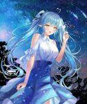 1girl :o ahoge arme_(cgsy7484) bare_shoulders black_ribbon blue_dress blue_hair blue_nails collared_shirt dress eyebrows_visible_through_hair fireworks hair_between_eyes hair_ribbon hand_up heart_ahoge highres holding_fireworks hololive multicolored_hair nail_polish night night_sky open_mouth pointy_ears purple_hair ribbon shadow shirt sidelocks sky solo sparkle star_(sky) star_(symbol) star_print starry_sky streaked_hair tree twintails virtual_youtuber white_hair white_shirt yellow_eyes yukihana_lamy